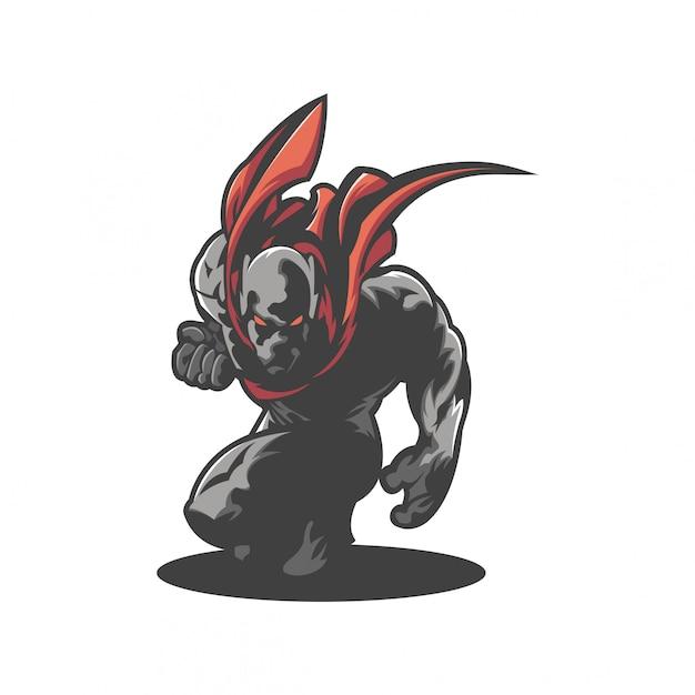 Logo del guerriero Vettore Premium