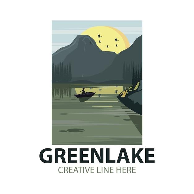 Logo del lago verde Vettore Premium