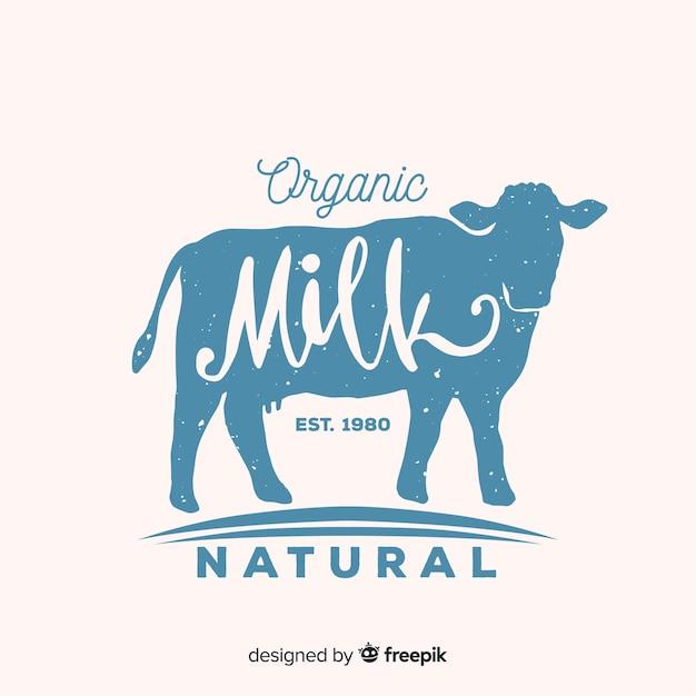 Logo del latte di mucca silhouette Vettore gratuito
