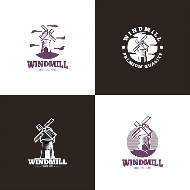 Logo del mulino a vento Vettore Premium