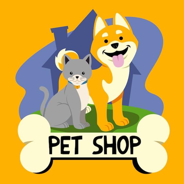 Logo del negozio di animali domestici Vettore Premium