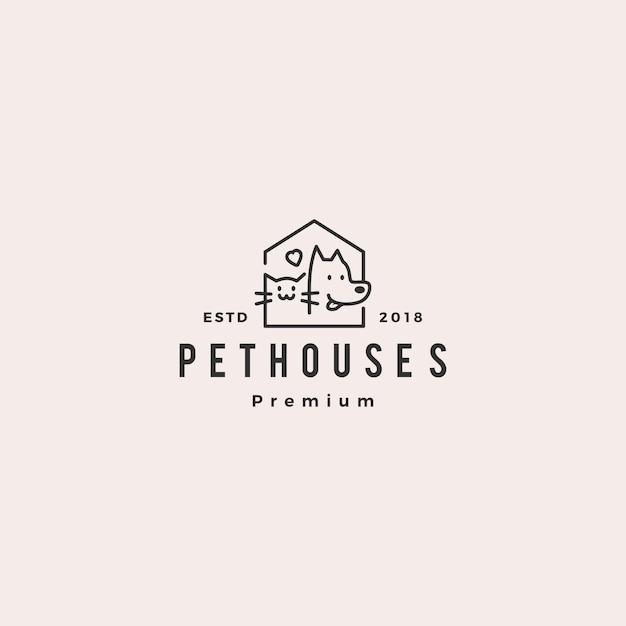 Logo del negozio di casa di animali domestici gatto gatto Vettore Premium