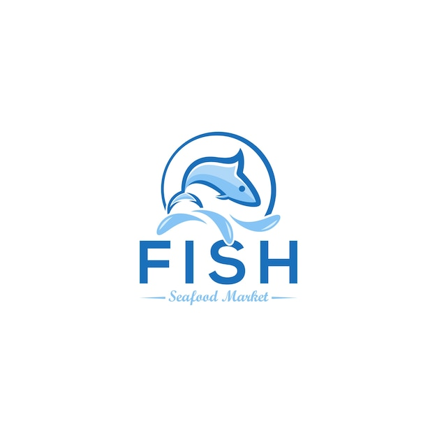 Logo del pesce Vettore Premium