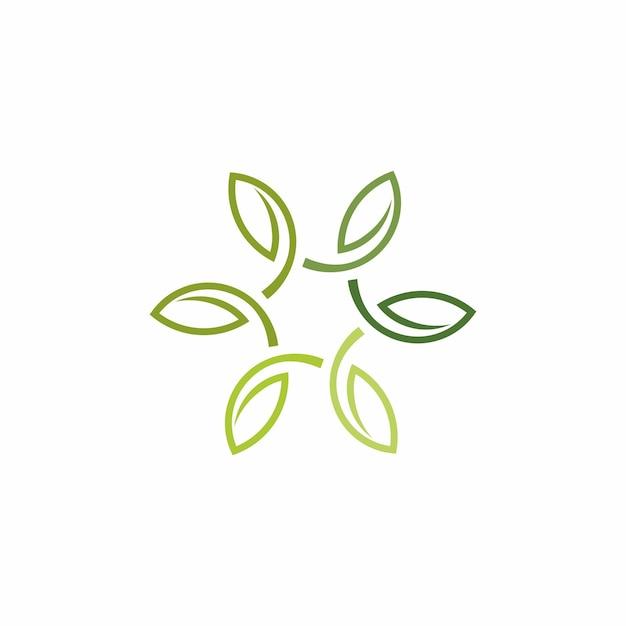 Logo del profilo foglia minimalista Vettore Premium