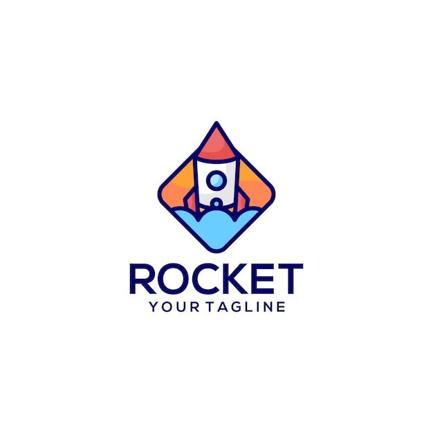 Logo del razzo. Vettore Premium