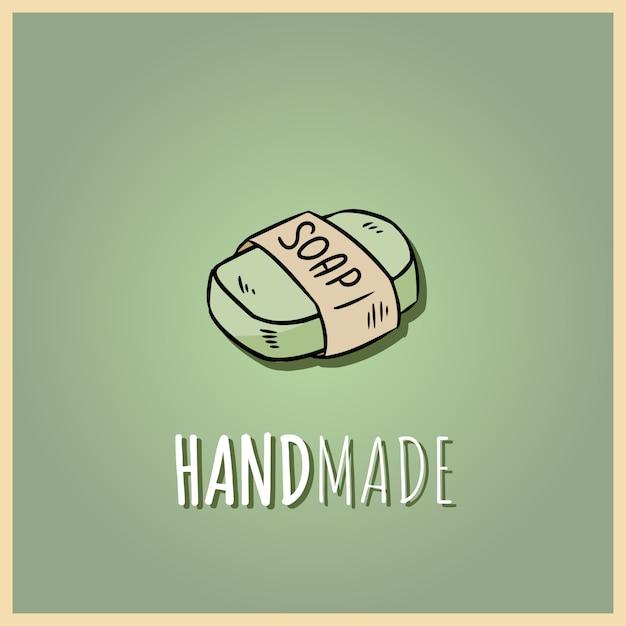 Logo del sapone naturale fatto a mano. illustrazione disegnata a mano di cosmetici biologici. Vettore Premium