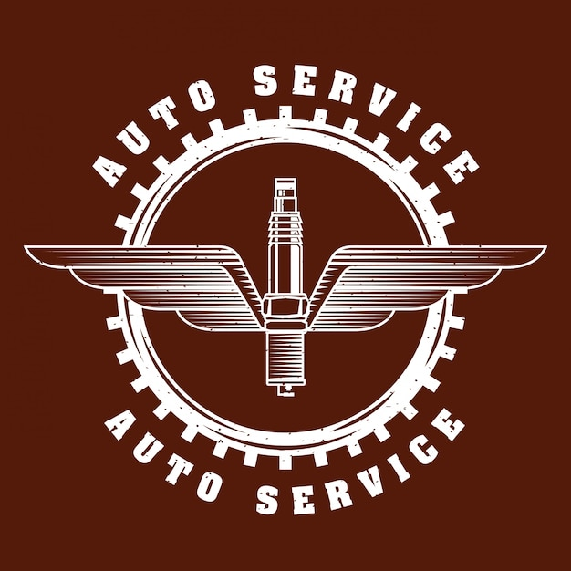Logo del servizio di riparazione auto Vettore gratuito