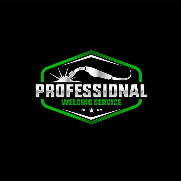 Logo del servizio di saldatura professionale Vettore Premium
