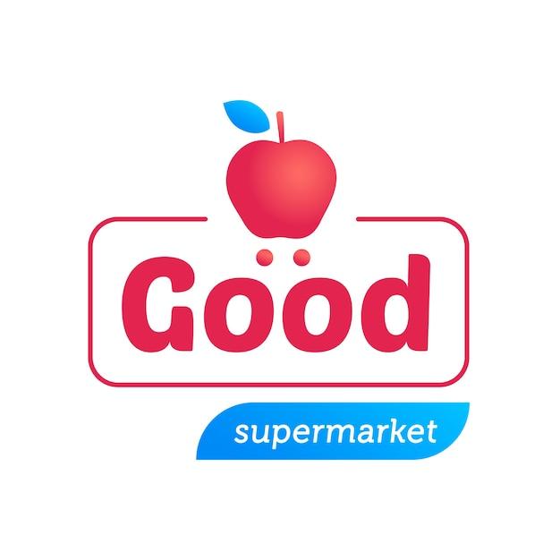 Logo del supermercato con mela Vettore gratuito