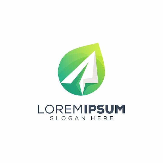 Logo dell'aereo di carta Vettore Premium