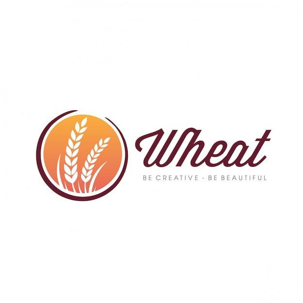 Logo dell'agricoltura del grano Vettore Premium