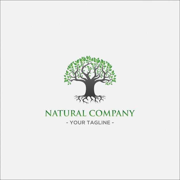 Logo dell'albero verde con foglia verde e ramo nero Vettore Premium