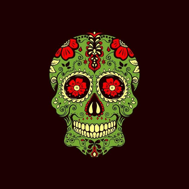 Logo dell'annata del cranio di zucchero Vettore Premium
