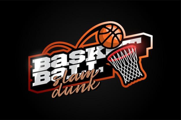 Logo dell'emblema e del modello di vettore di stile di pallacanestro professionale moderno di tipografia professionale retro. divertenti saluti per vestiti, carta, badge, icona, cartolina, banner, tag, adesivi, stampa Vettore Premium