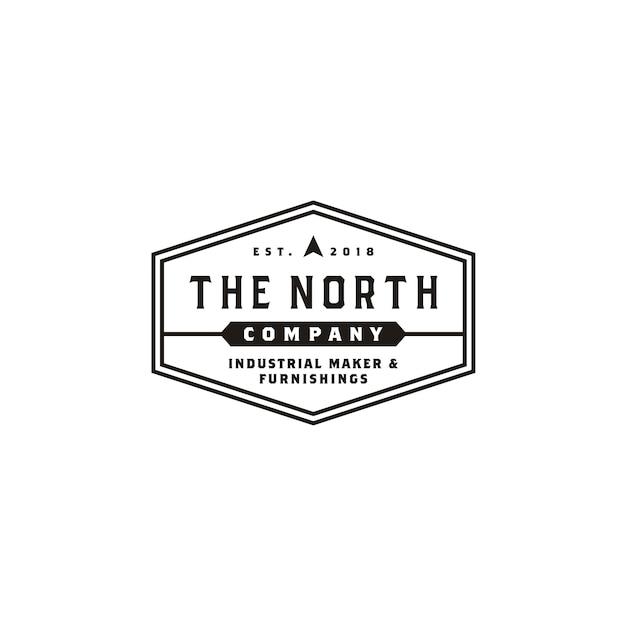 Logo dell'etichetta della società di business vintage hexagon Vettore Premium