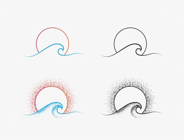 Logo dell'onda del sole e dell'oceano o disegno dell'icona nelle versioni colorate e nere. icona di sottile linea minimalista di vacanza estiva o surf isolato su priorità bassa bianca. illustrazione Vettore Premium