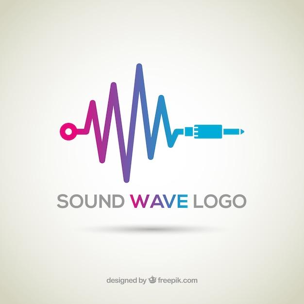 Logo dell'onda sonora con design piatto Vettore gratuito
