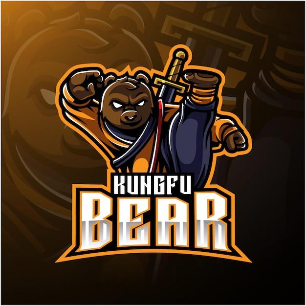 Logo dell'orso kungfu con una spada Vettore Premium