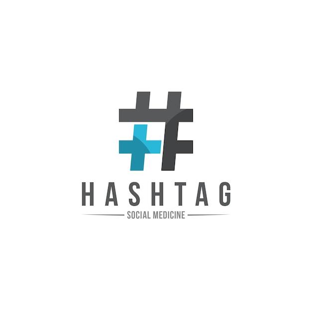 Logo dell'ospedale hashtag Vettore Premium
