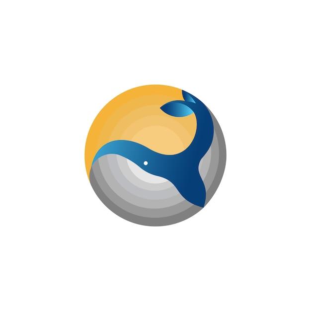Logo della balena circolare Vettore Premium