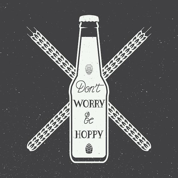 Logo della birra con la citazione di motivazione di divertimento dell'iscrizione della mano Vettore Premium