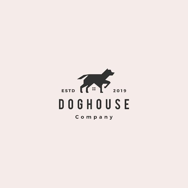 Logo della casa dell'animale domestico della casa del cane Vettore Premium