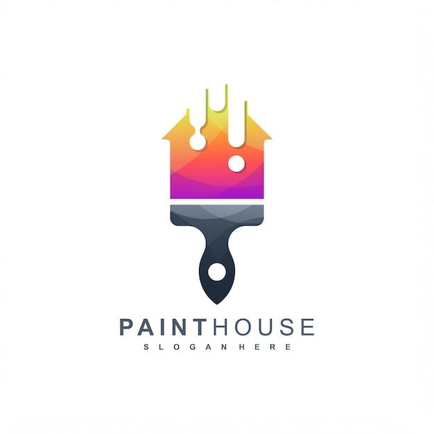 Logo della casa di vernice pronto per l'uso Vettore Premium