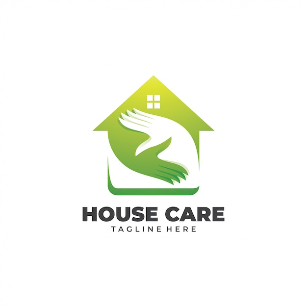 Logo della casa e cura della casa Vettore Premium
