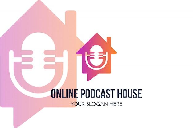 Logo della casa podcast online Vettore Premium