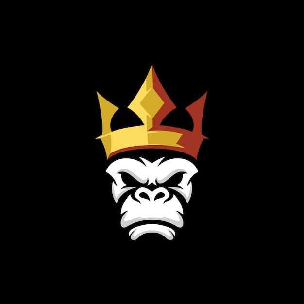 Logo della corona di scimmia Vettore Premium