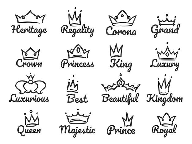 Logo della corona maestosa. schizzi il principe e la principessa, l'insegna della regina disegnata a mano o l'insieme dell'illustrazione dei graffiti delle corone di re Vettore Premium