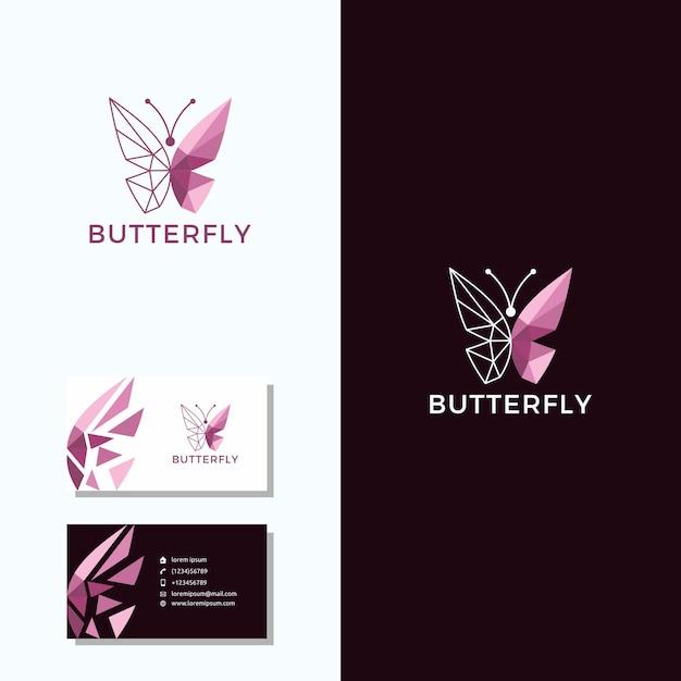 Logo della farfalla con design del logo biglietto da visita Vettore Premium