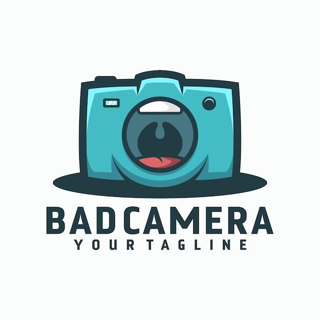 Logo della fotocamera difettosa Vettore Premium