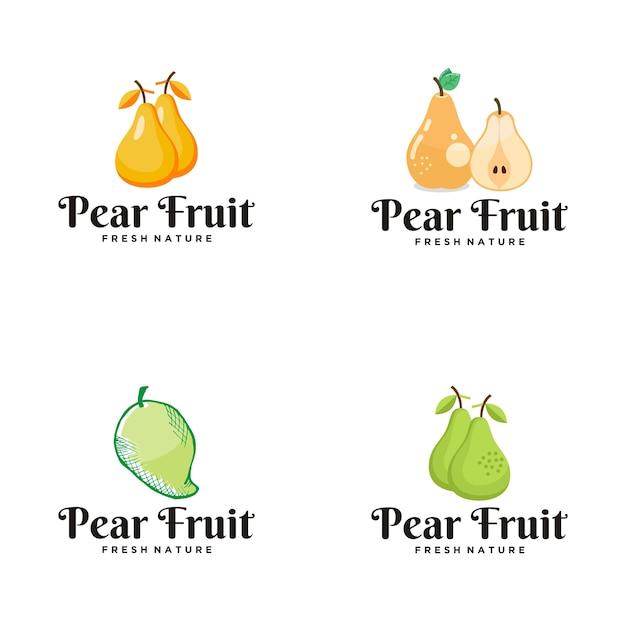 Logo della frutta della pera Vettore Premium