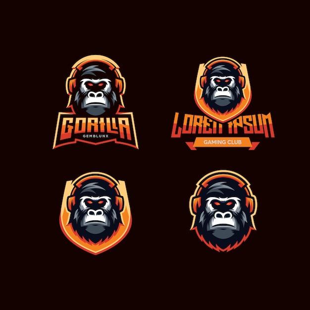 Logo della gorilla di gioco Vettore Premium