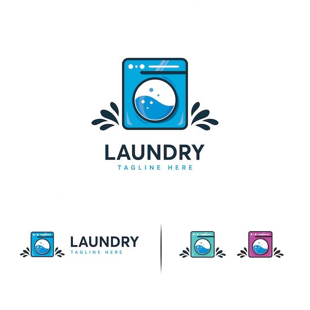 Logo della lavanderia, logo della lavatrice Vettore Premium