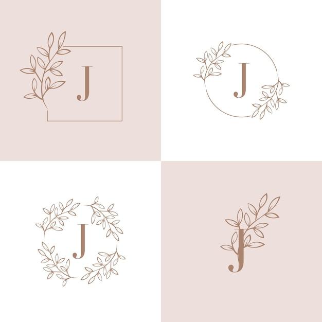 Logo della lettera j con elemento foglia di orchidea Vettore Premium