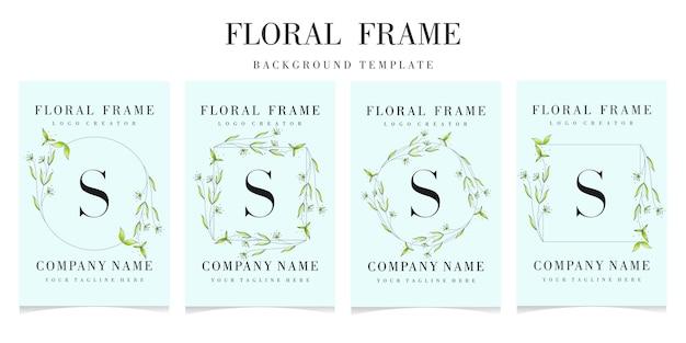 Logo della lettera s con modello di sfondo cornice floreale Vettore Premium