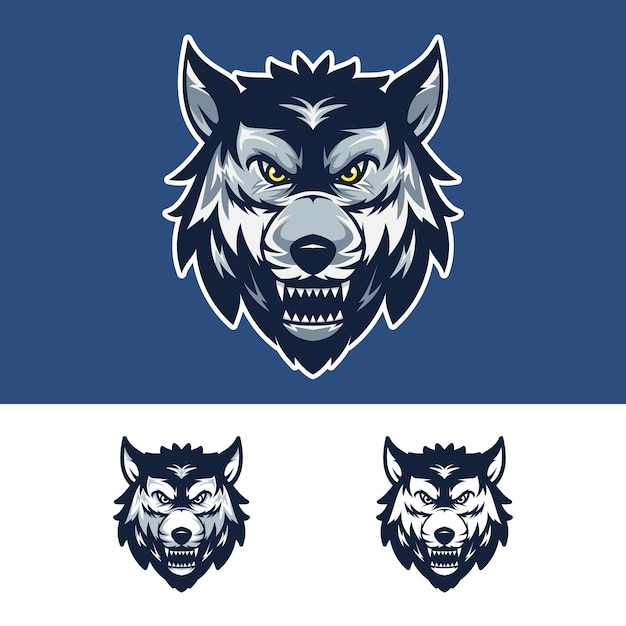Logo della mascotte angry wolf head Vettore Premium