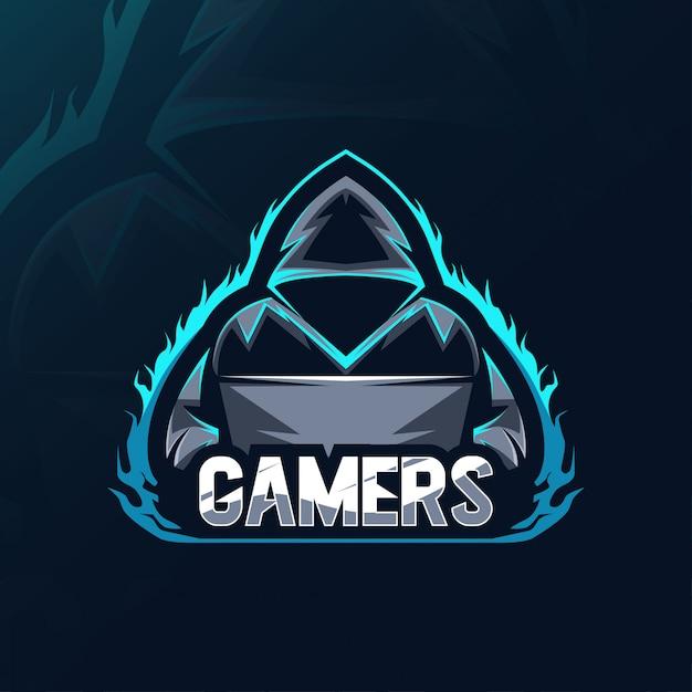 Logo della mascotte dei giocatori Vettore Premium