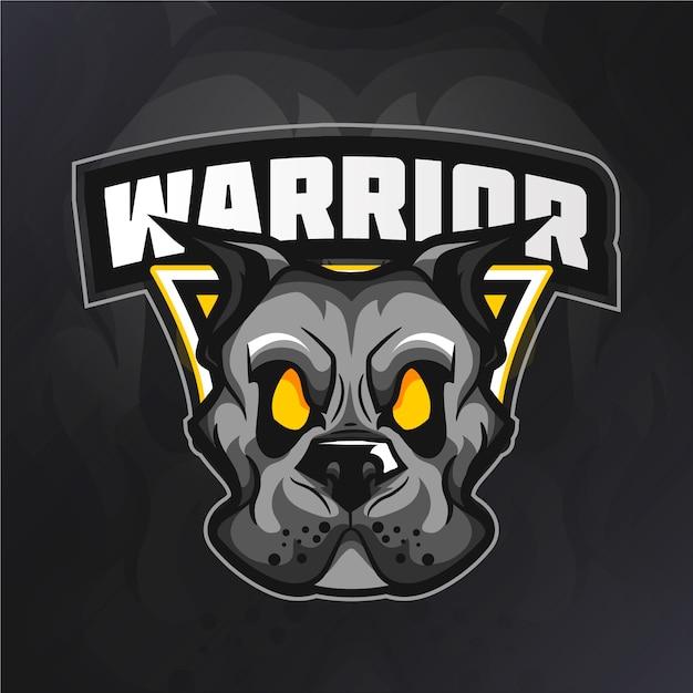 Logo della mascotte del cane guerriero Vettore gratuito