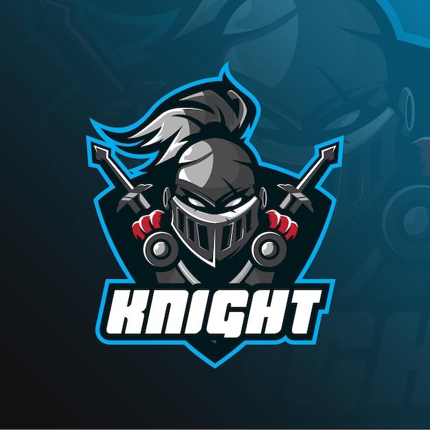 Logo della mascotte del cavaliere Vettore Premium