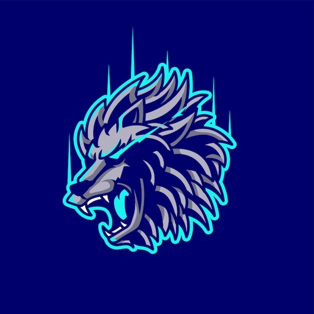 Logo della mascotte del leone e dell'esportazione Vettore Premium