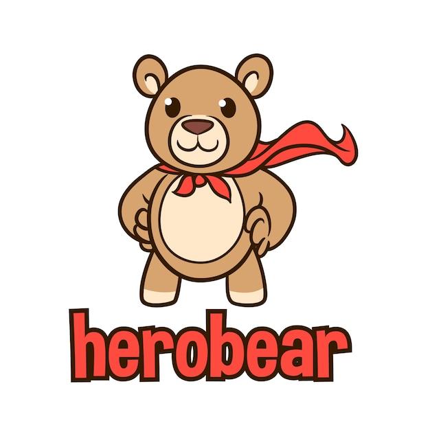 Logo della mascotte del personaggio di orso farcito dei cartoni animati Vettore Premium