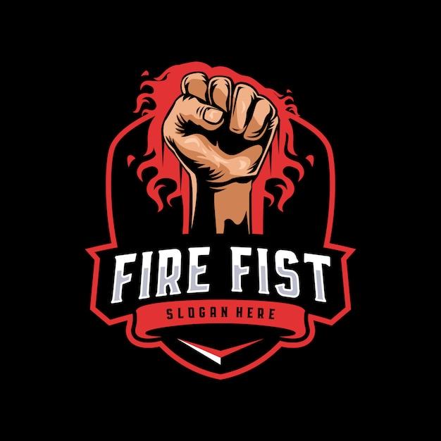Logo della mascotte del pugno di fuoco Vettore Premium