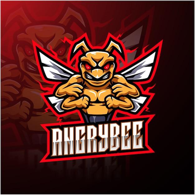 Logo della mascotte dell'ape arrabbiata Vettore Premium