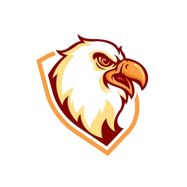 Logo della mascotte dell'aquila Vettore Premium