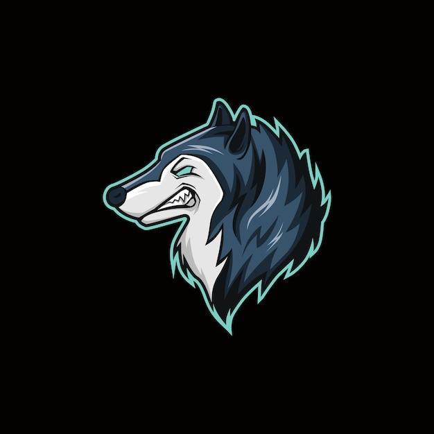 Logo della mascotte dell'esportazione dell'illustrazione di vettore della testa del lupo Vettore Premium