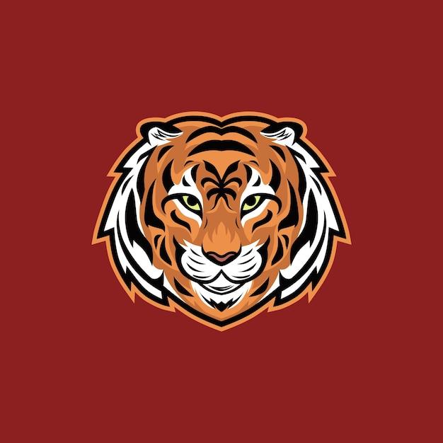 Logo della mascotte dell'esportazione dell'illustrazione di vettore della testa della tigre Vettore Premium