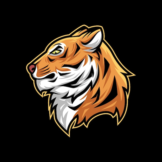Logo della mascotte della mascotte dell'illustrazione di vettore della testa della tigre Vettore Premium